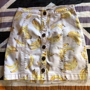 Banana Button Up Denim Skirt